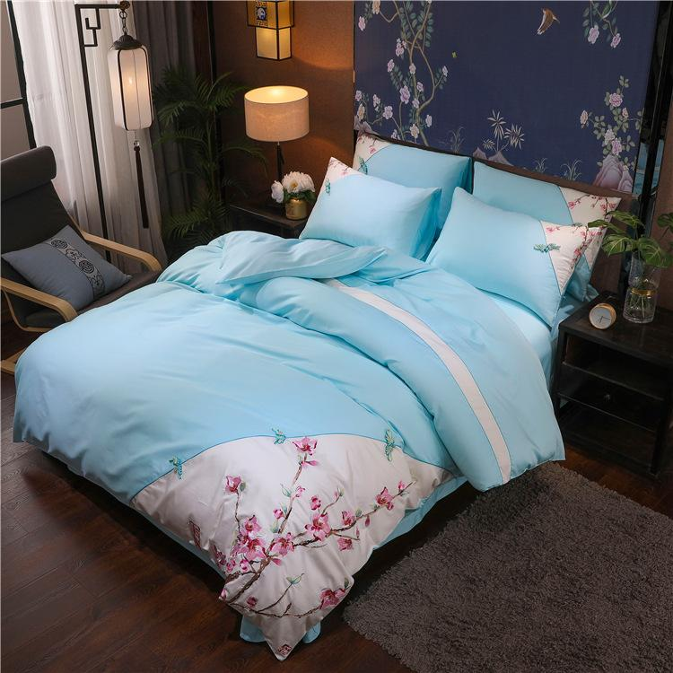free shipping High-end new Chinese style 60 pieces of cotton embroidery flower cotton retro quilt cover sheet four-piece bedding wholesale