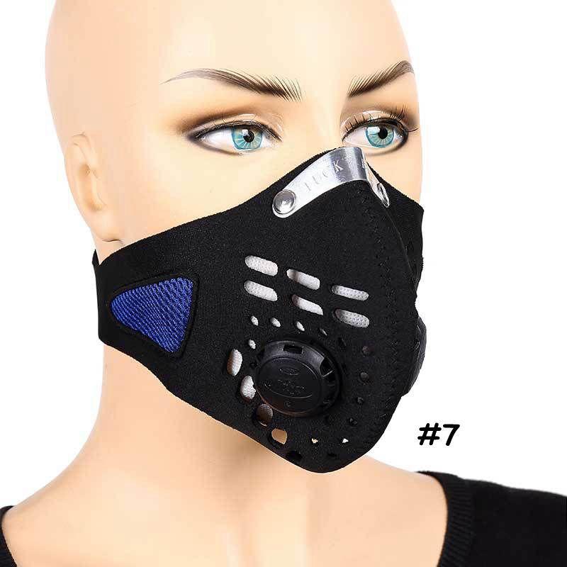 Nefes Karbon Yüz Maskesi Unisex Spor Bisiklet Toz Duman Koruyucu Yarım Yüz Neopren PM2.5 Bisiklet Maskeler CCA12091 10pcs Maske Filtreler