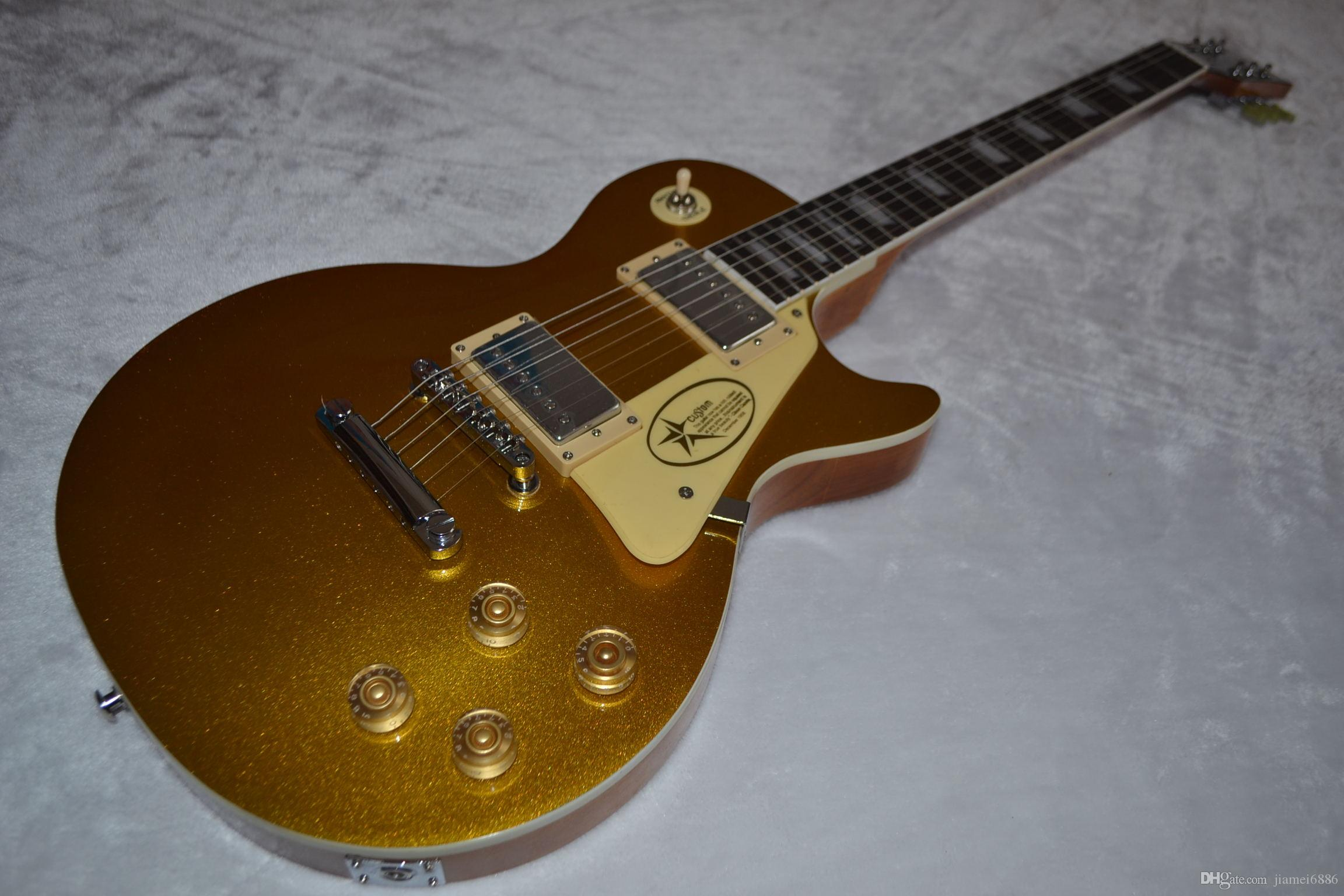 Golden dust top free shipping five-star logo electric guitar one body and one-piece neck sound quality binding China high quality