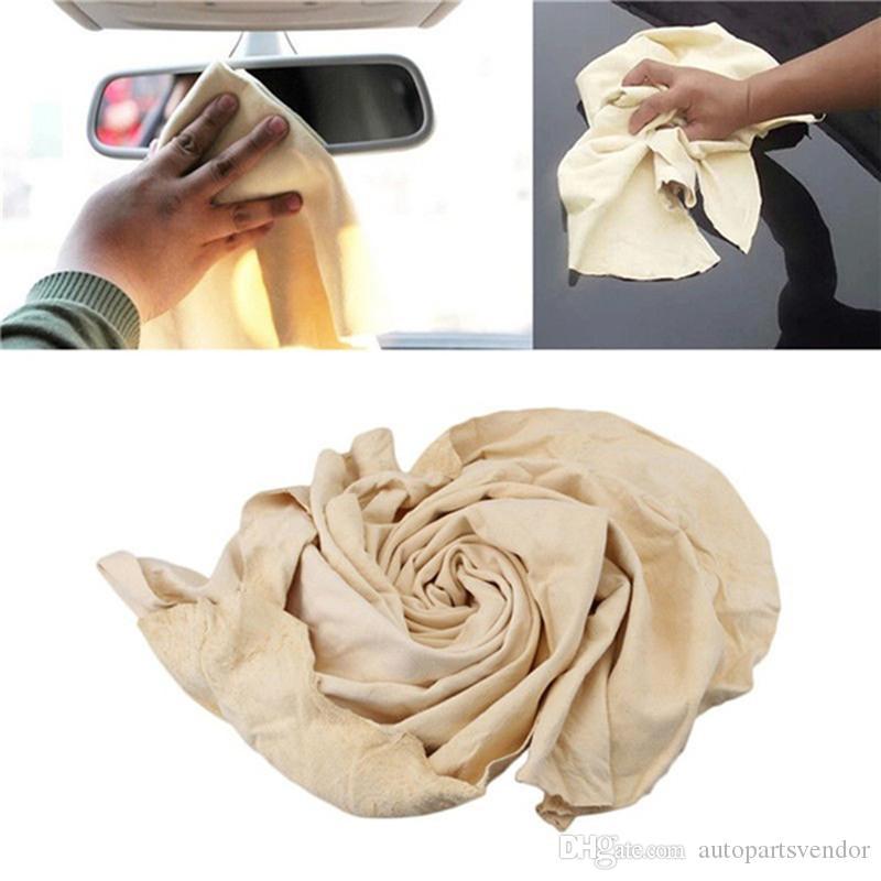 25cmX40cm الشامواه الطبيعية جلد سيارة تنظيف القماش جلد طبيعي منشفة غسل الجلد المدبوغ ماص جاف سريعة الإنتصارات الحرة لينت الحرة