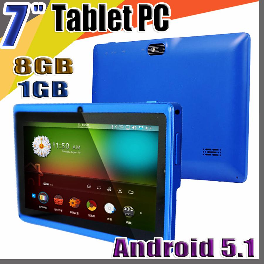 "848 Allwinner A33 Quad Core Q88 Tablet PC Dual Camera 7"" 7 inch capacitive screen Android 5.1 1GB 8GB Wifi Google play store flash C-7PB"