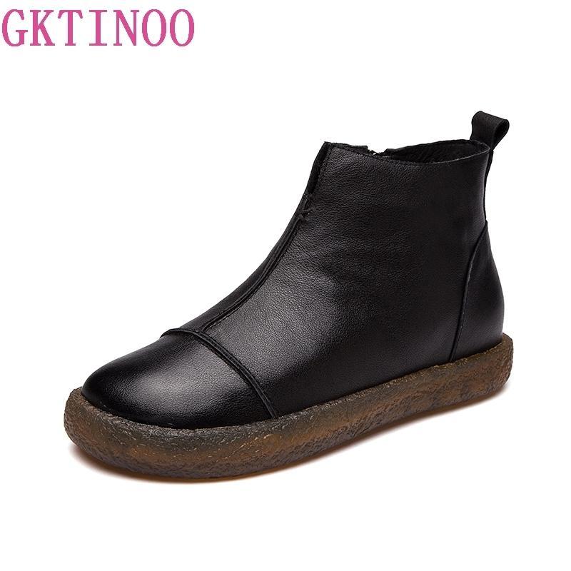 GKTINOO Mode Chaussures À La Main Pour Les Femmes 100% En Cuir Véritable Bottines Bottes D'hiver Automne Plat Femmes Chaussures Bout Rond Bottes