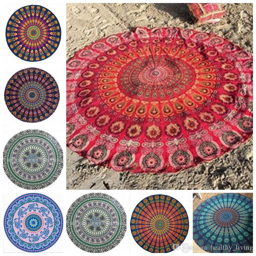 Pawaca Mandala Unicorn Plaj Havlusu şifon Yuvarlak 150cm Lotus Duvar Asma Atma Goblen Yoga Minderi Kadınlar Yaz Sandy Battaniye Ev Dekorasyonu