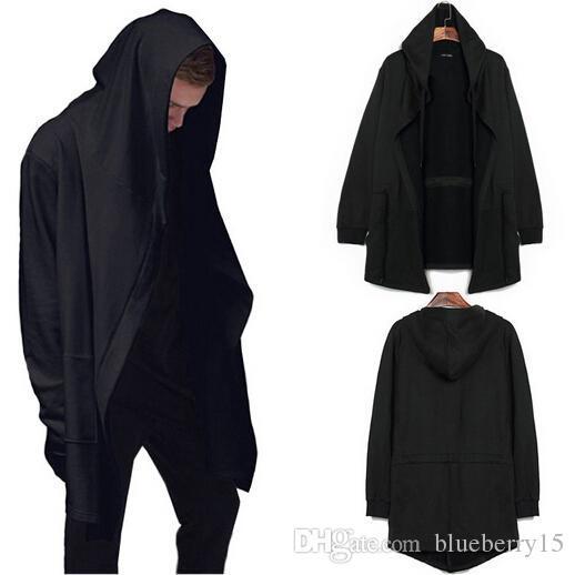 Yeni stil moda Yüksek sokak erkek ilkbahar ve sonbahar kapşonlu polar uzunluğu hırka Cape ceket siyah ruh