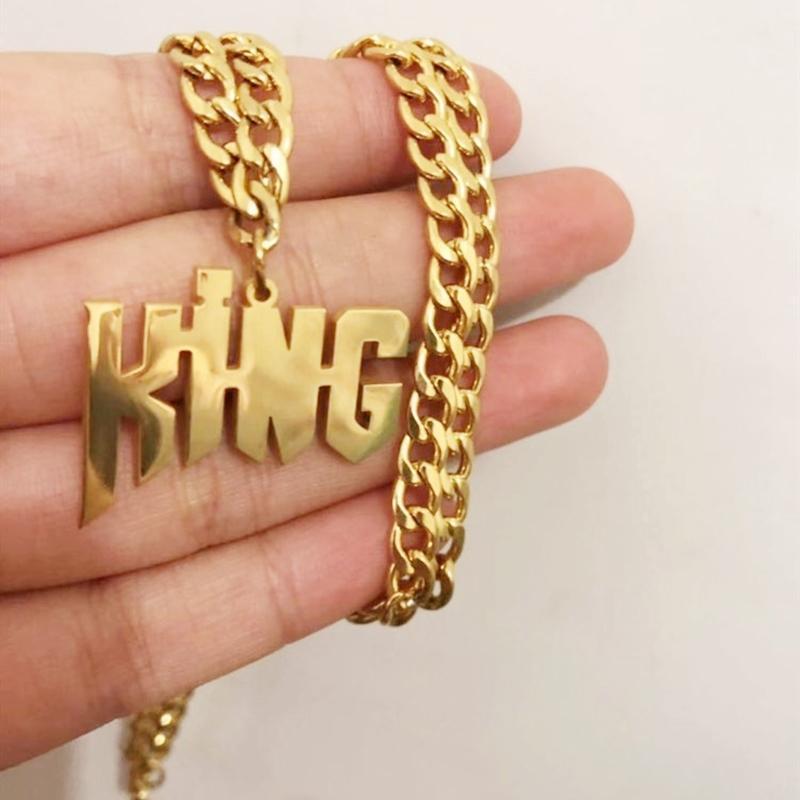 شخصية اسم مخصص قلادة الذهب والمجوهرات الفولاذ المقاوم للصدأ قلادة قلادة للنساء الرجال اللوحة المختنق هدايا الزفاف