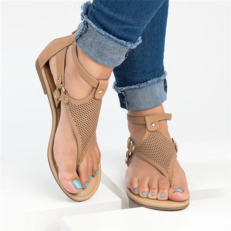 Sexy Femmes Été 2020 bout rond solide bohémiennes sandales plates en caoutchouc Sandales Chaussures Femme Ete 2020 tenailles Dropshipping 2
