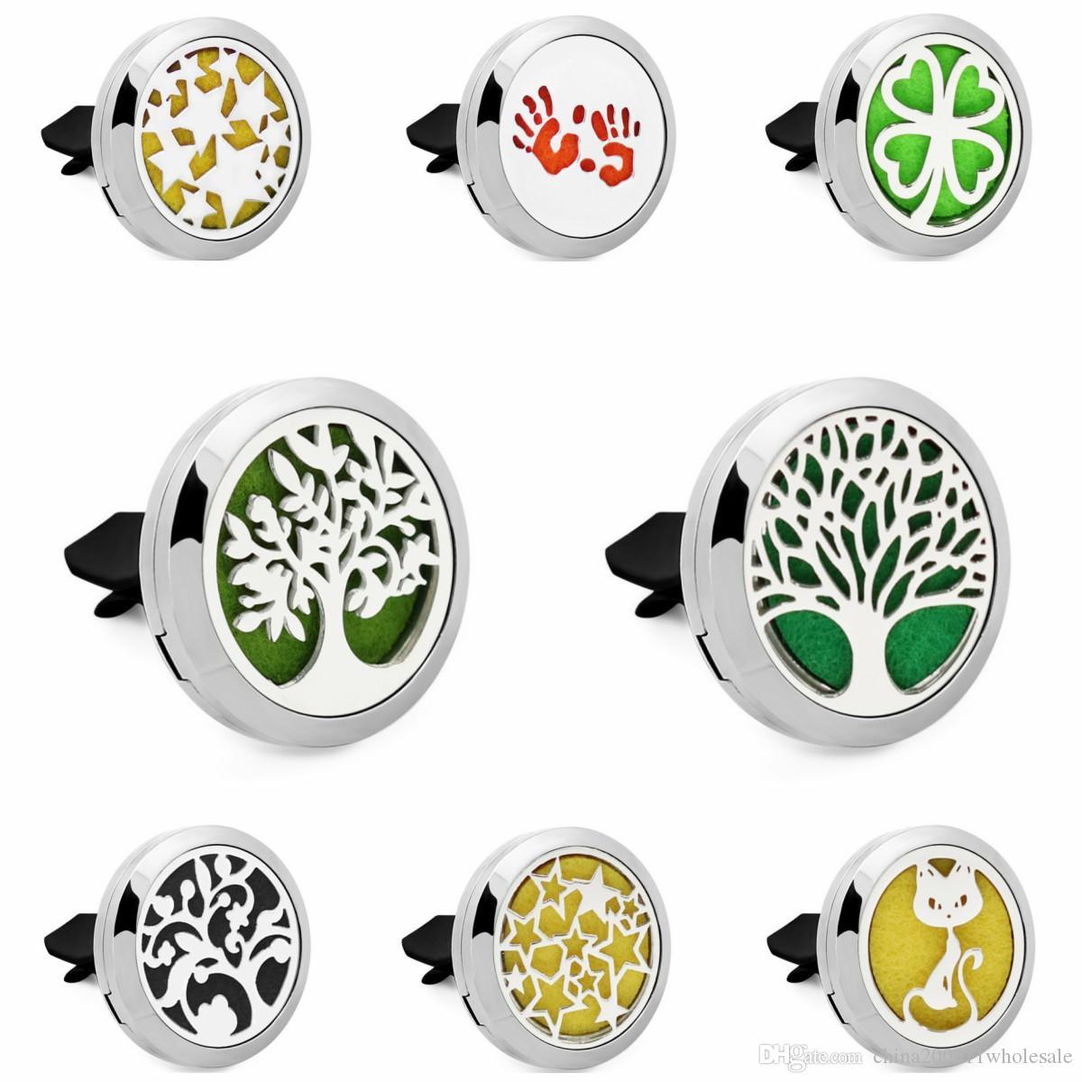 Árvore da vida estrelas cat difusor do carro óleo essencial medalhão respiradouro clipe 1 pcs aço inoxidável 316l aromaterapia pingentes 5 pcs almofadas de óleo como presente