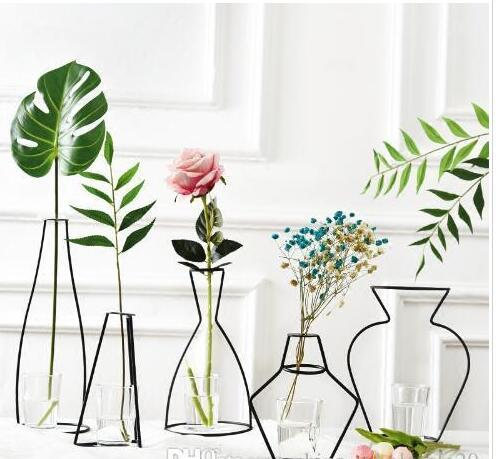 Home Party Decoration Vase Abstract Black Lines Minimalist Abstract Iron Vase Dried Flower Vase Racks Nordic Flower Ornaments Decors For Home Dekor