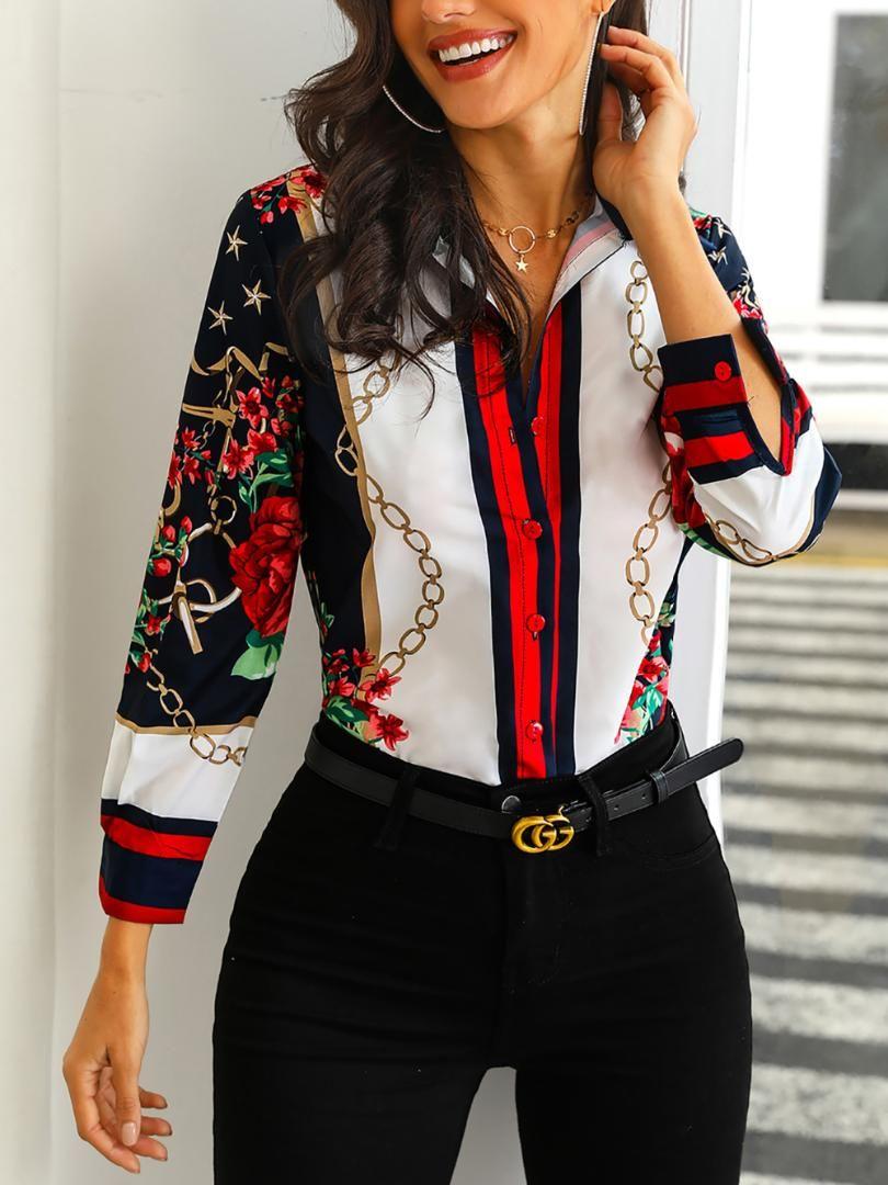 2019 Donna Moda Elegante Look da ufficio Abbigliamento da lavoro Camicia da festa Top da donna Camicie casual con stampa floreale e catene da weekend