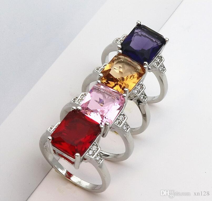 Hochzeiten / Braut Rosa große CZ Stein Schmuck Silber Farbe Ringe charmante Dame schöne Party Ring