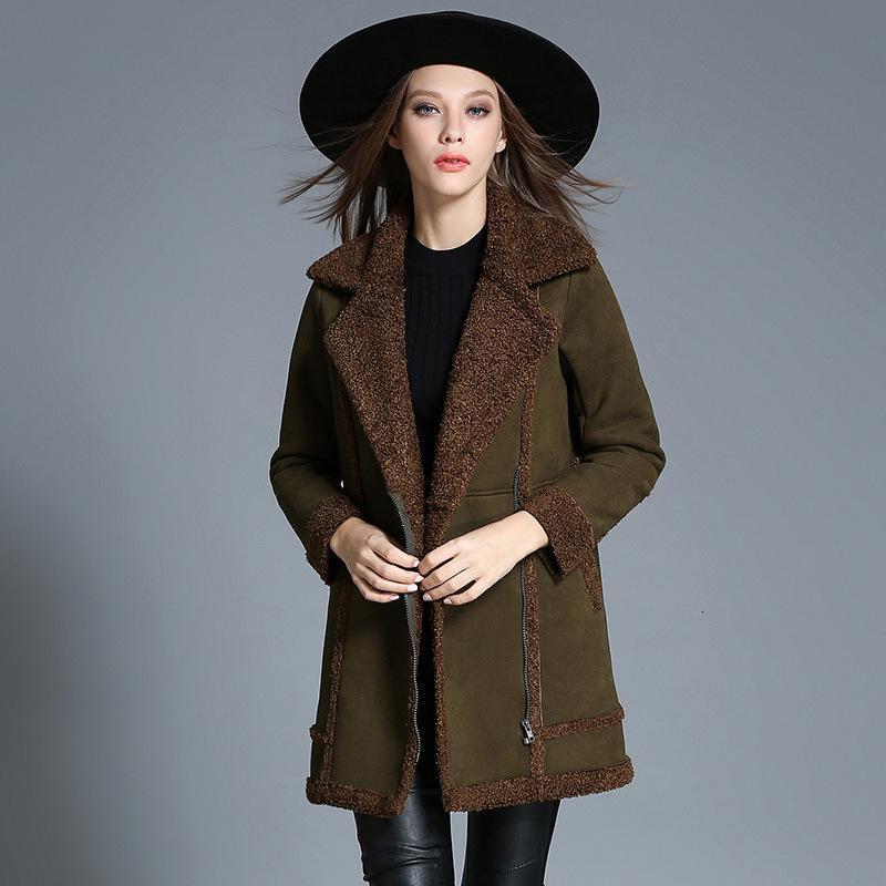MEVGOHOT 2019 otoño invierno Añadir terciopelo acolchado de cordero terciopelo Cashmere Coat caliente más el tamaño de la capa remiendo verde de la hembra 4XL HD2118 SH190930