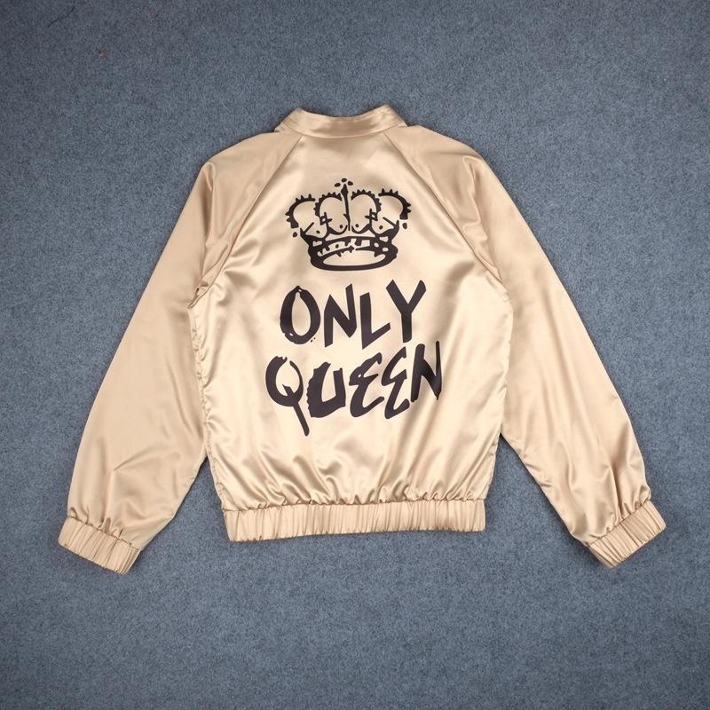 Voltar ÚNICA RAINHA Coroa Carta Imprimir Moda Feminina Outerwear Casacos de Outono Casacos Básicos para Senhora De Cetim De Seda De Ouro Jaqueta Bomber Ouro