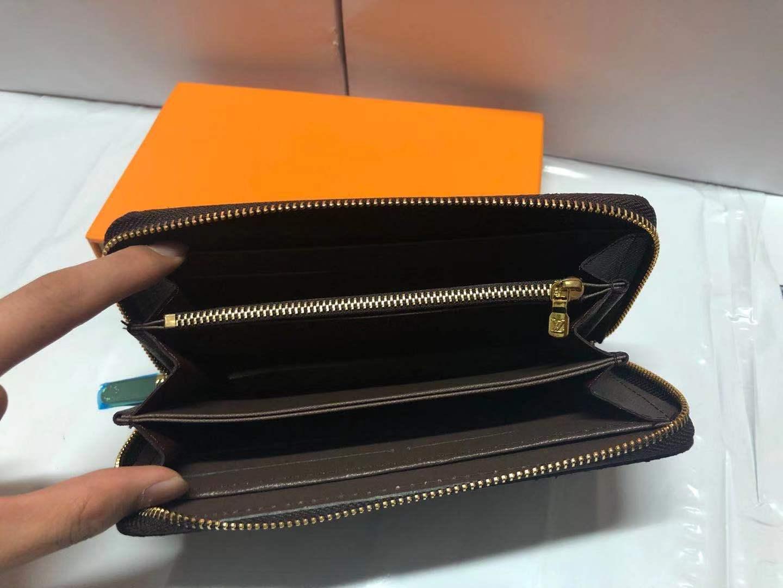 6 Farben Art und Weise einzigen Reißverschluss-Männer Frauen-Ledermappe Dame Damen lange Geldbeutel mit Orange Box-Karte 60017 L Marke