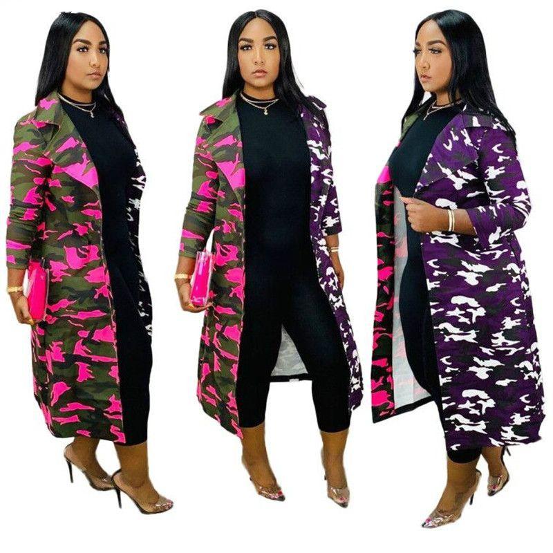 Collar Womens Roupa Trench Ligue-down completo manga Camuflagem Imprimir Coats Casual disjuntor Moda Femme Overcoat vento revestimento exterior