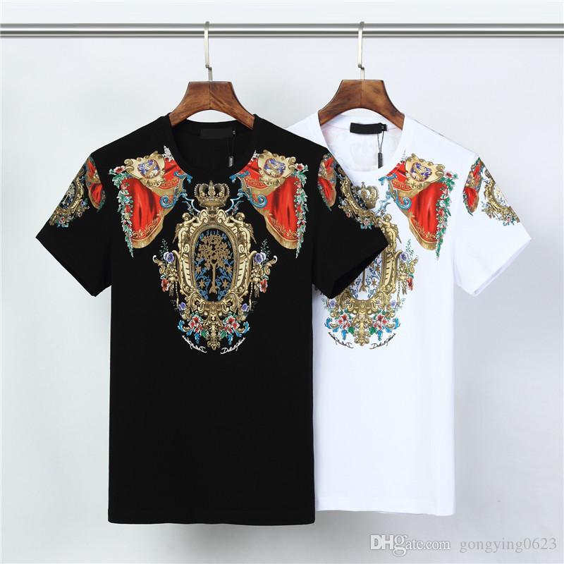 2020 de lujo para hombre t camisa casual de manga corta de la moda de impresión de alta calidad par O-cuello de la camiseta camisa