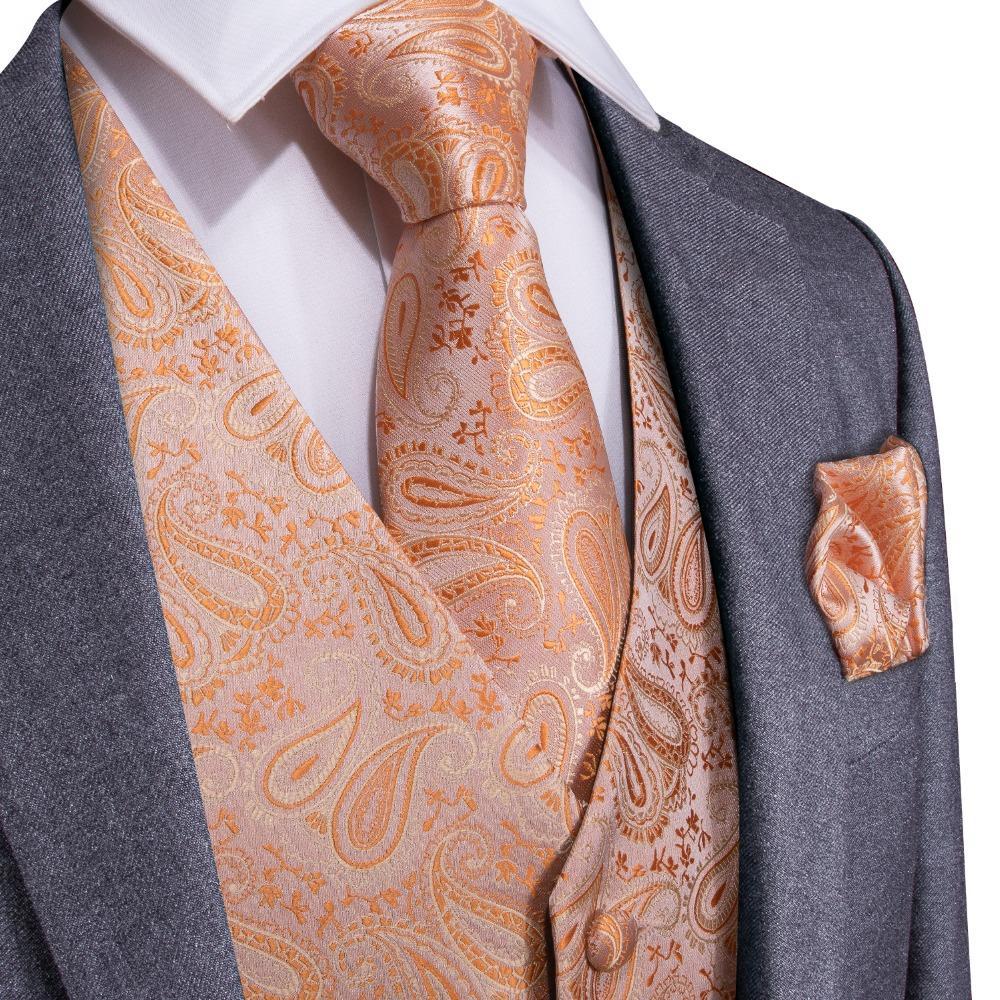 DiBanGu 오렌지 페이 즐 리 패션 웨딩 남자 정장 Tuxedo MJTZ-108에 대 한 Hanky 커 프 스 단추 Cravat 설정 100 % 실크 조끼 조끼 넥타이