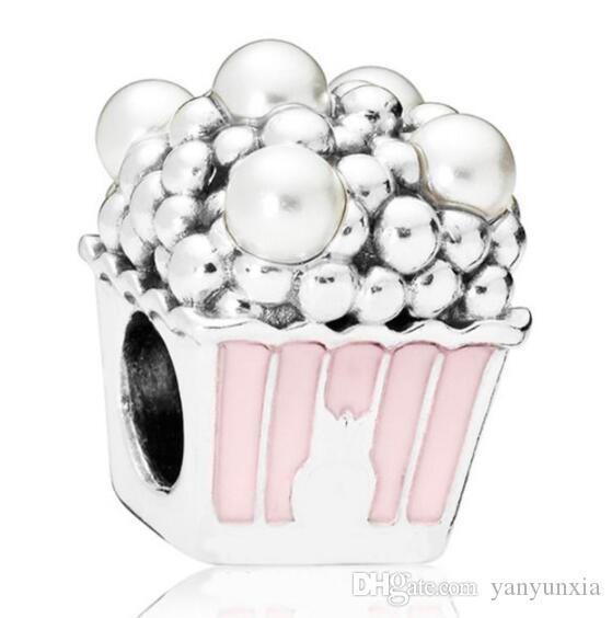 الأصلي المجوهرات 925 فضة سحر الوردي المينا لذيذ الفشار لؤلؤ مع كريستال الخرزة سوار قلادة