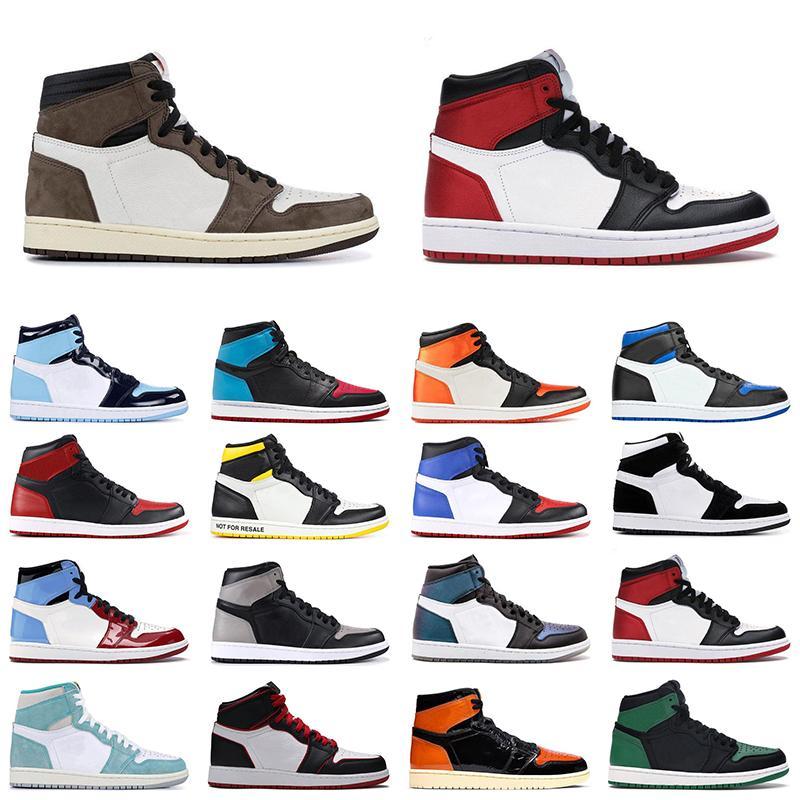 2020 Travis Scott 1 1s Jumpman 1S Мужчины Женщины Баскетбольные Обувь Черный Носок Обсидиана UNC Разбитые Блокированные Мужские Наружные тренеры Спортивные кроссовки