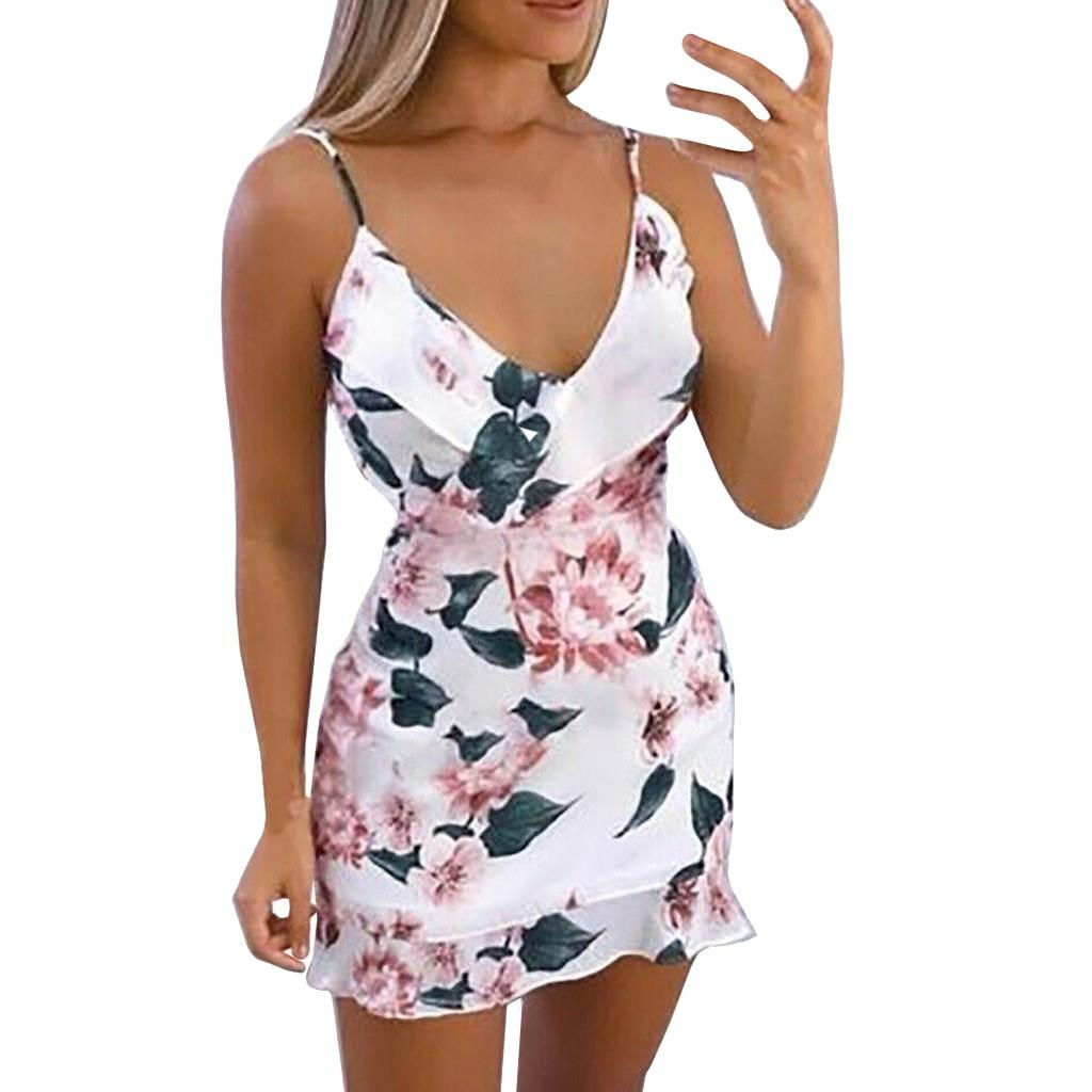 Februaryfrost Womens Sexy V Neck Floral Printed Strappy Mini Dress Summer Ladies Ruffle Summer Beach Party Dresses Casual Beach Dresses