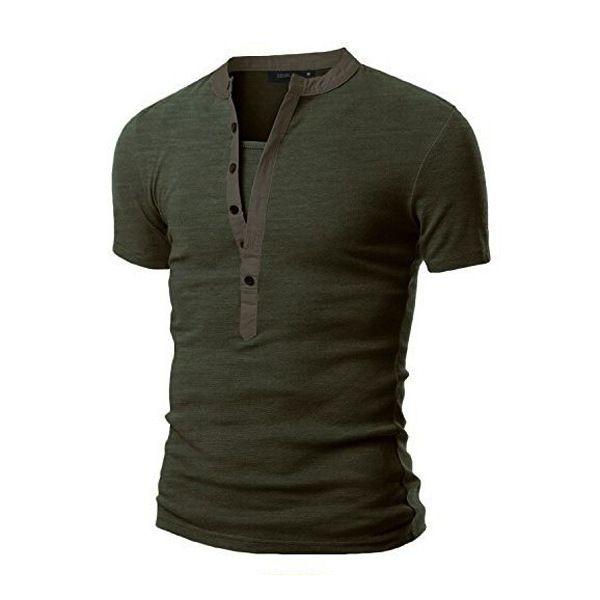 Erkek Gömlek V Boyun Düğmesi Kas Rahat Slim Fit Kısa Kollu Katı T-Shirt Ordu Yeşil Siyah Tişörtleri Tops
