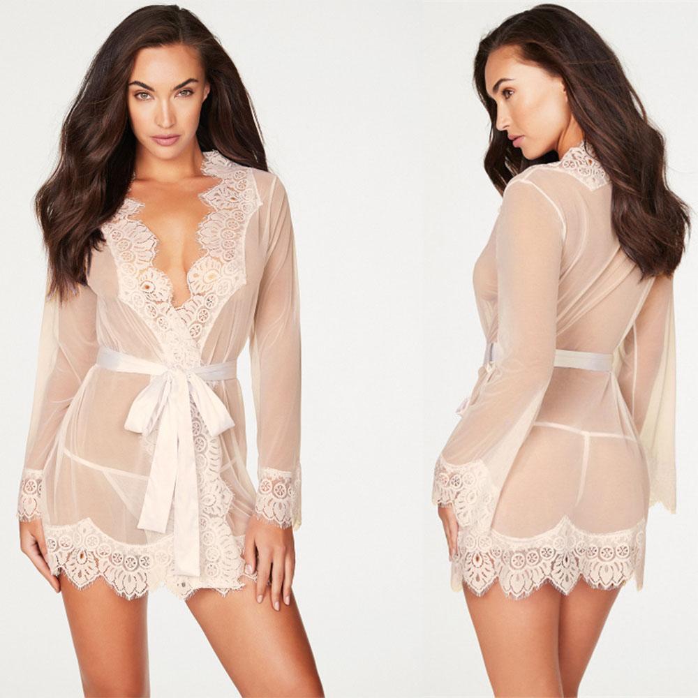 Biancheria sexy delle donne camicetta sexy dell'abito + G della stringa degli indumenti da notte in pizzo intima del sesso bamboletta Erotic abito trasparente