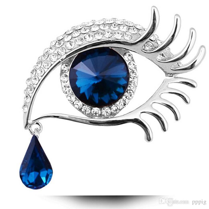 2019 أوروبا والولايات المتحدة موضة جديدة كريستال بروش الإبداعية دموع الملاك قطرة بروش الماس عيون كبيرة طويلة رمش بروش الحرة sh