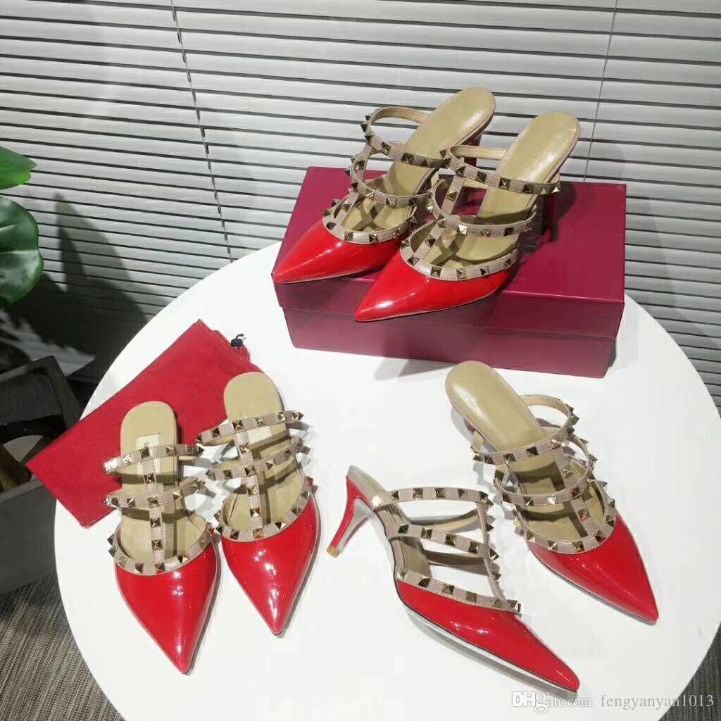 luxe 2019 Designer femmes talons hauts parti rivets filles sexy chaussures pointues Chaussures de danse chaussures de mariage chaussures Double sangles Slingback Pumps sandales