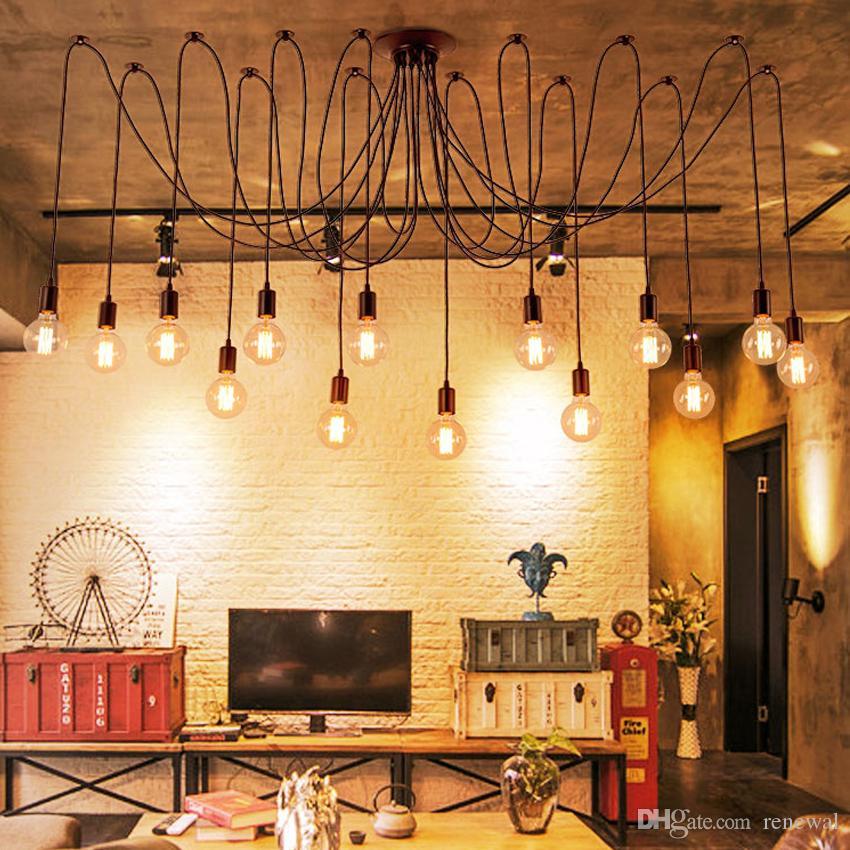 Mordern Nordic Retro Edison Bulb Light Chandelier Vintage Loft Antique Adjustable DIY Art Spider Ceiling Lamp Fixture Light