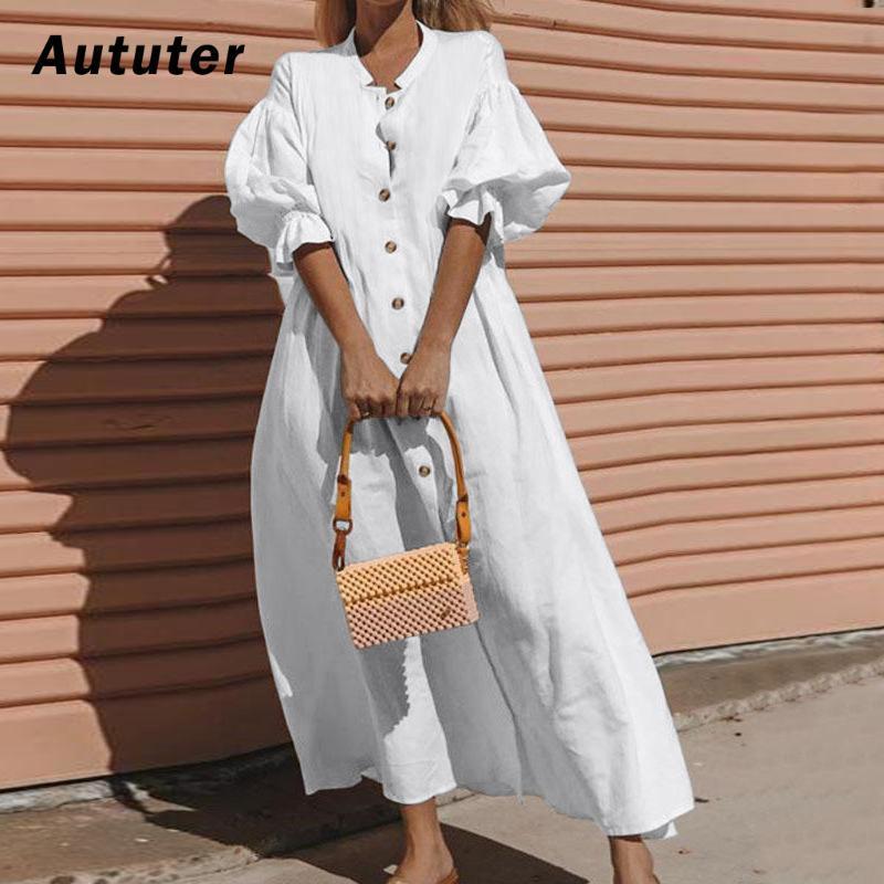 2020 Nouveau Robes Femmes Printemps Eté Coton Lin élégant dames plissés longues robes blanches col en V manches Lantern # A3 Vestidos
