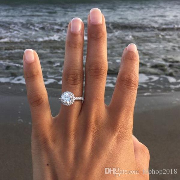 Женские обручальные кольца мода круглый драгоценный камень серебряное обручальное кольцо для женщин, смоделированные алмазные кольцевые украшения