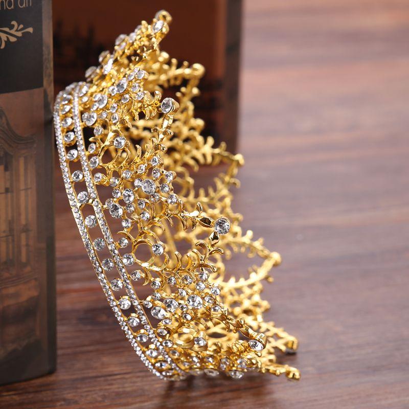 Vintage Round Big Crown Queen Tiara Hair Jewelry Gold Silver Crysta Crown For Wedding Bride Hair Accessories HG192 C18122501