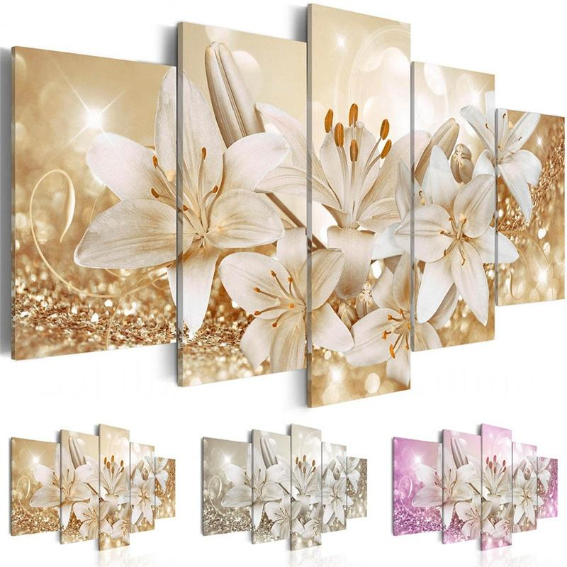 5 Pieces Wall Art Painting Gold Lily Flower Picture Print on Canvas Hd Printing Home Bedroom Living Room Decor Unframed
