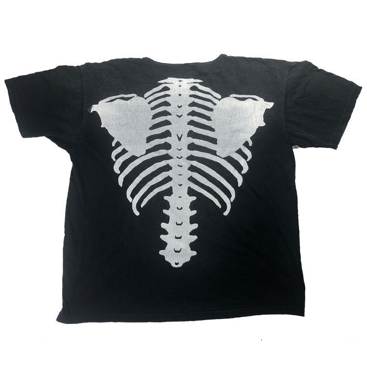 Coincidencia hombre de las camisetas esqueleto del cráneo de la caja torácica y negro Negro Color de moda de la calle de manga corta ropa floja ocasional