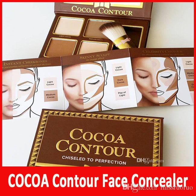 Yeni COCOA Kontur Highlighters Paleti Makyaj Çıplak Renk Yüz Kapatıcı Kontur Buki Fırça ile Çikolata Göz Farı