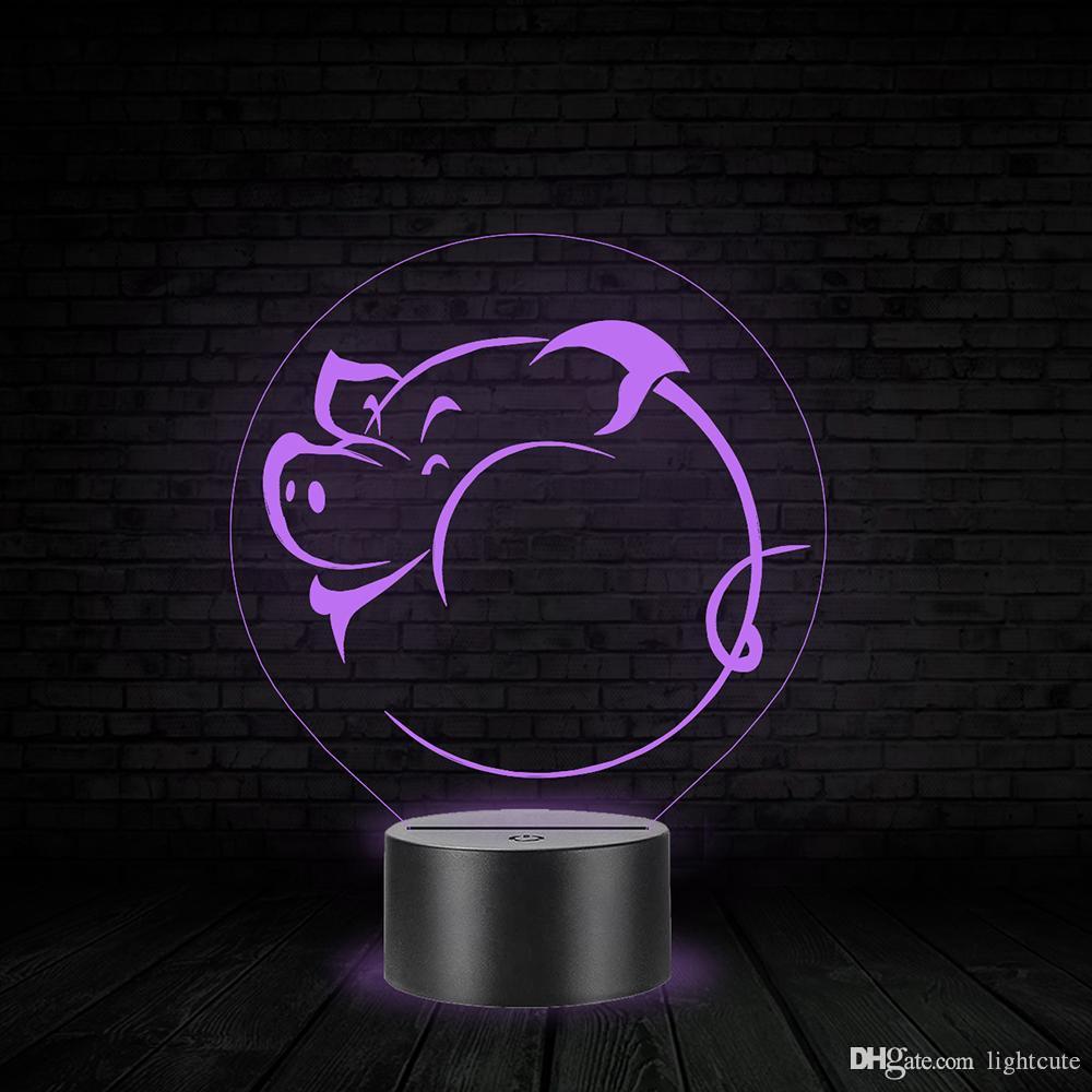 Симпатичные Свинья 3D Night Light Touch 7 цветов Изменение светодиодные лампы Дети игрушка подарок на день рождения номер декора Дети подарок на день рождения Мальчик Девочка Детские игрушки Theme