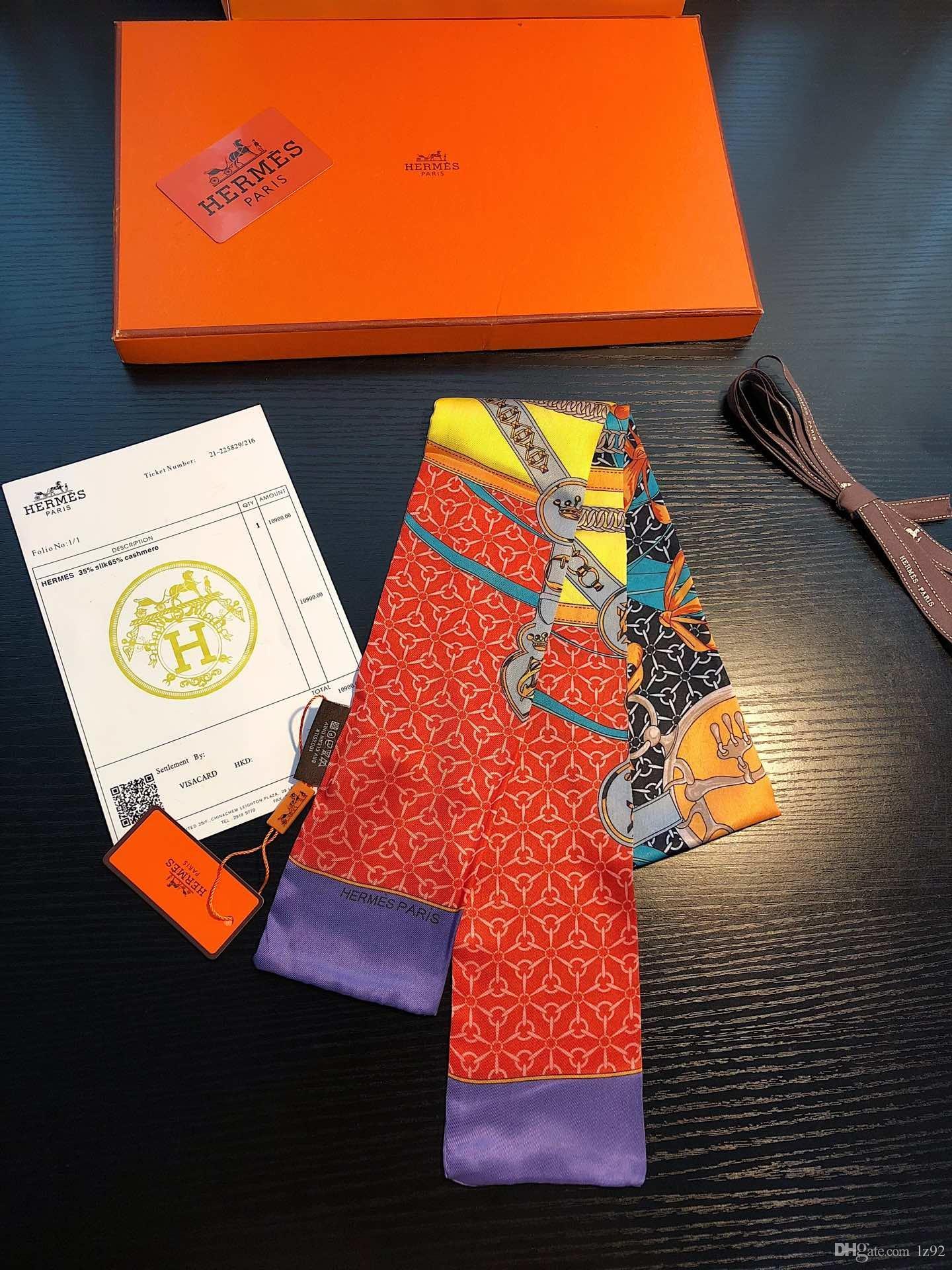 Güzel karışım tasarımı kız atkısı saç bandı çanta sapı eşarp Lüks kadın Hermes moda şerit ipek küçük boyun eşarplar sarar