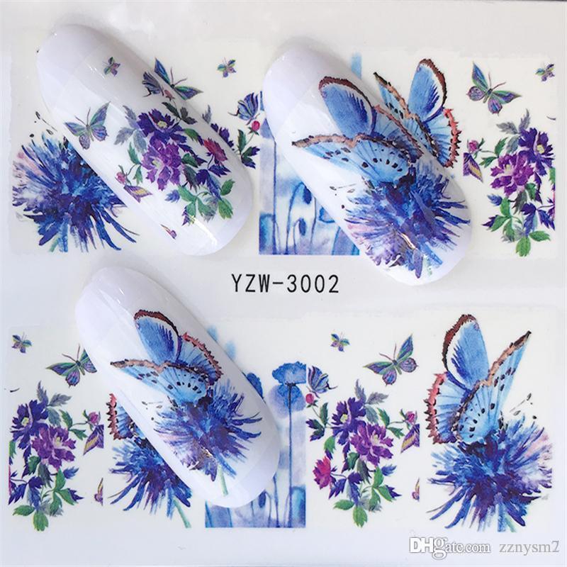 1 시트 네일 스티커 버터 플라이 여름 다채로운 물 전송 손톱 장식 UV 젤 폴란드어 DIY 스티커
