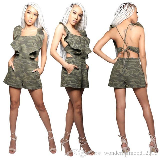 Tuta sportiva tuta tuta tuta da donna tuta mimetica stampa backless camouflage con piumini tagliati
