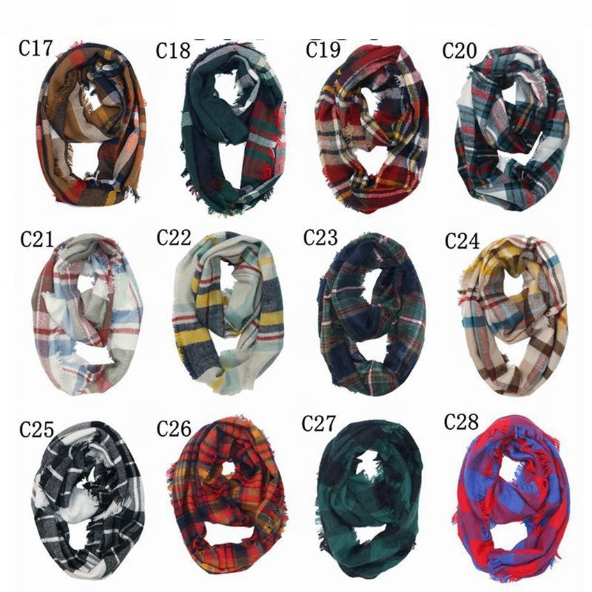 Plaid Ring Schal Gitter Unendlichkeit Schal-Verpackungs-Loop-Schal Knitting gestreiftes Kopftuch Frauen Neckchief 30 Farben LJJO7151