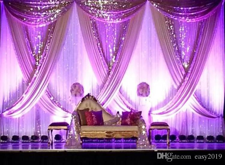 10ft x 20ft White Wedding Backdrop with Shiny Gold Swag Wedding drape and curtain wedding decoration