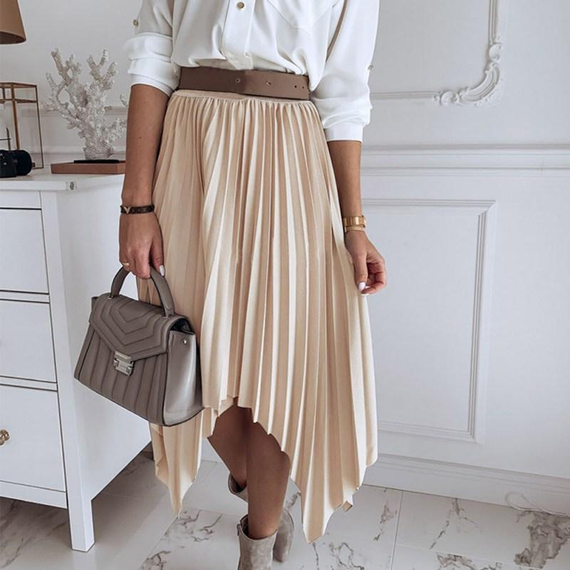 Sexy Golden Women's Pleated Half-length Pleated Skirt Summer Elegant Medium-length High Waist Show Thin Organ Long Skirt