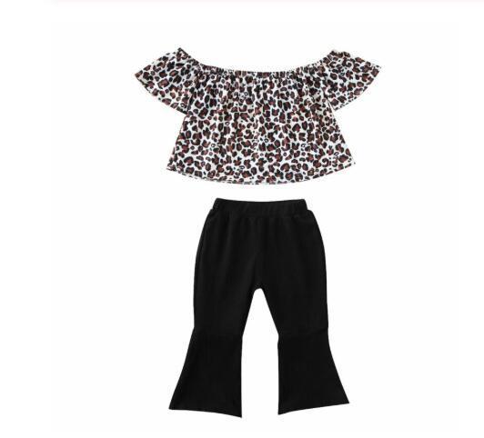 Estate bambino dei capretti delle neonate vestiti Set Outfits Leopard Tops T-Shirt Pantaloni in cotone manica corta Set 0-24M Moda