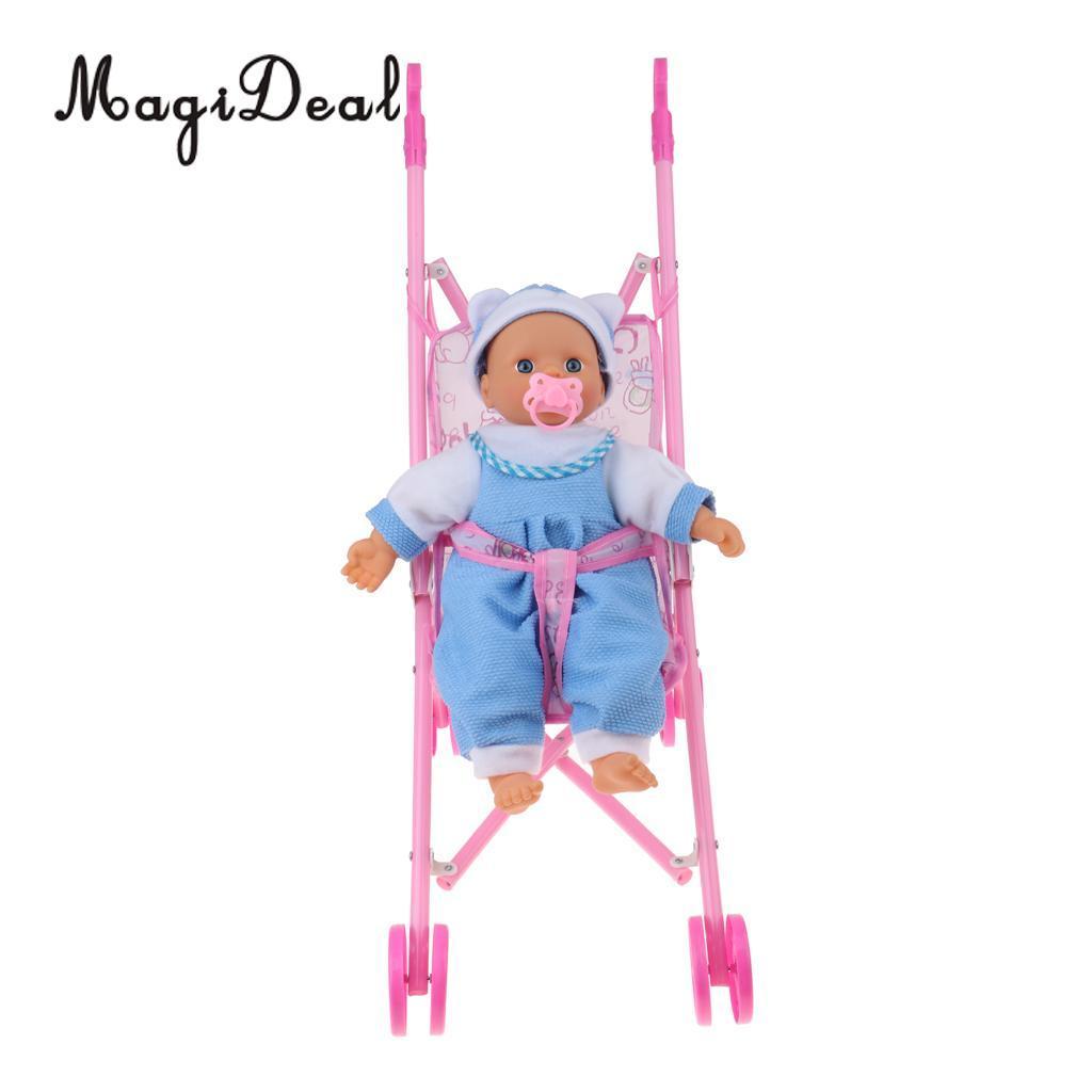 Dobrável Guarda-chuva Boneca Carrinho De Criança com Alças Bebê Carrinho de Bebê Recém-nascido Mini Boneca Para Reborn Boneca Simulação de Enfermagem Acessório