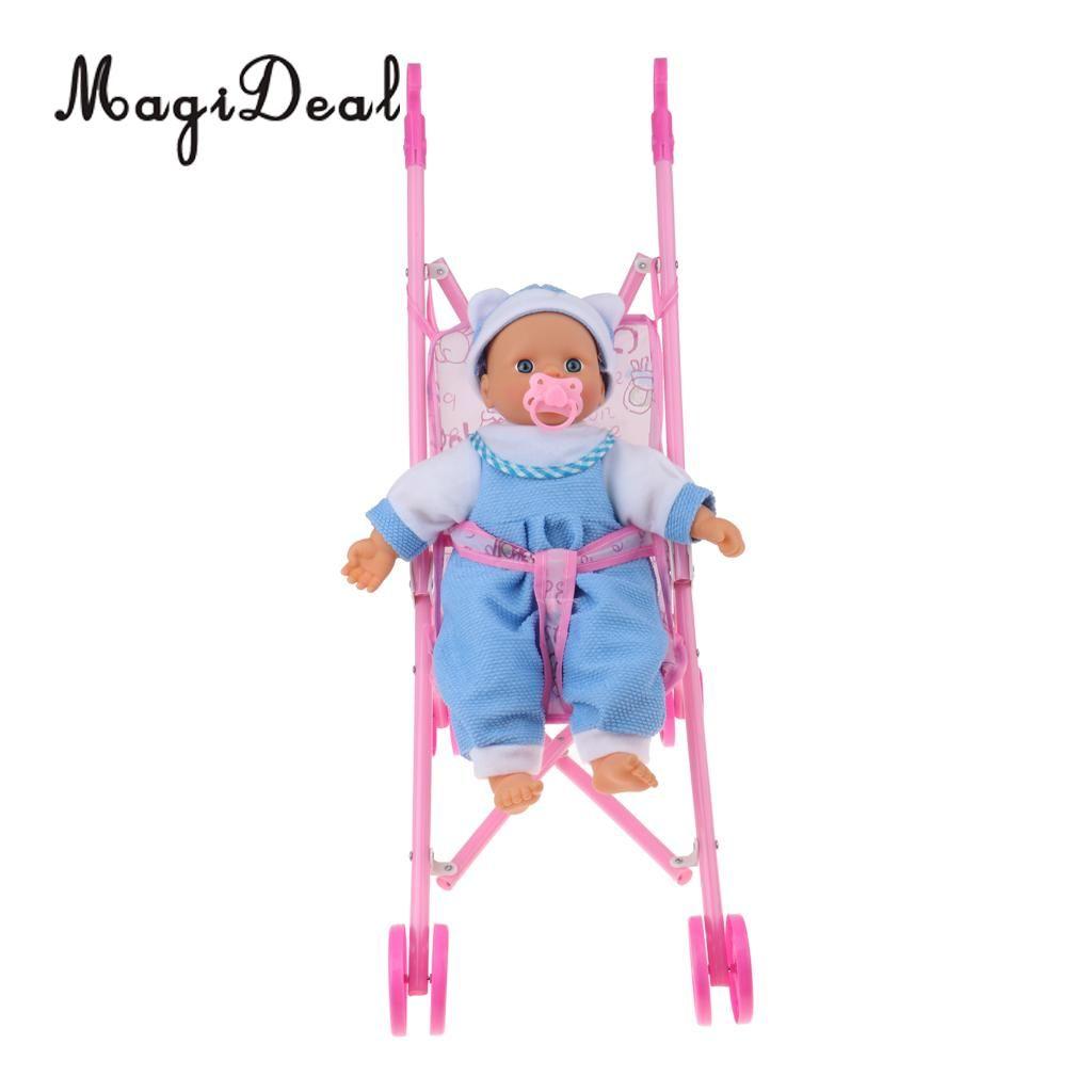 Pieghevole Ombrello bambola Passeggino con manici Trolley bambino Mini Bamboletta neonato per bambola rinata Simulazione Allattamento Accessorio
