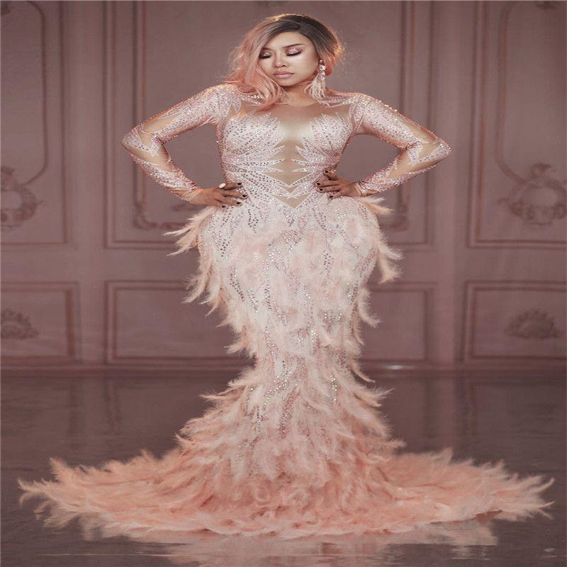 X89 Party salle de bal costumes danse diamants performance barre porte plume rose jupe sirène robe de soirée hip longue Rhinestone show party dj