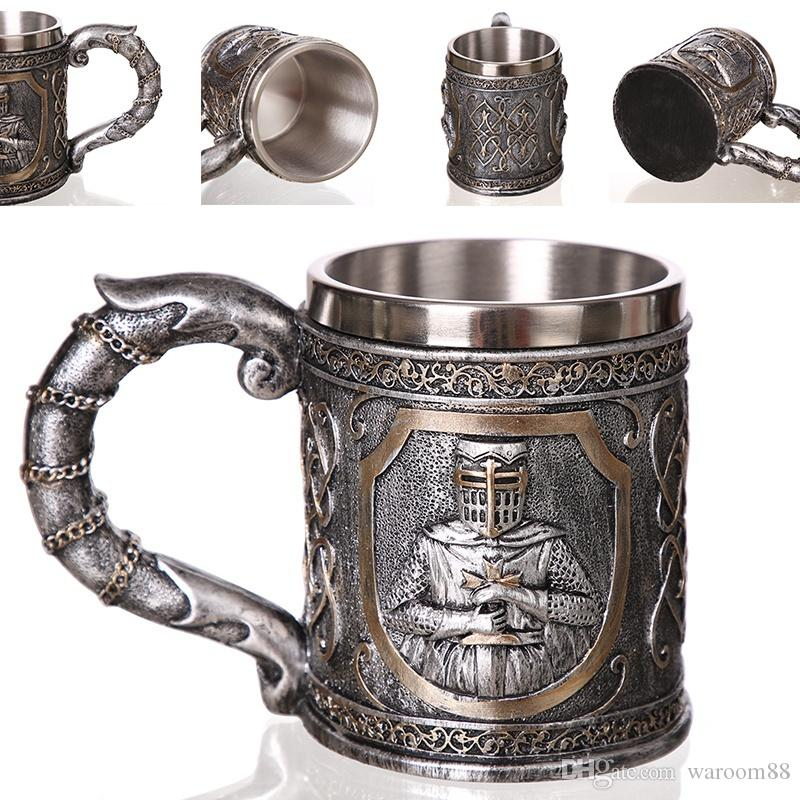 3D 바이킹 전사 바 Goblet 해골 커피 머그잔 탱커드 홈 바에 대한 맞춤형 원래 두개골 컵 맥주 와인 음료 남자 선물
