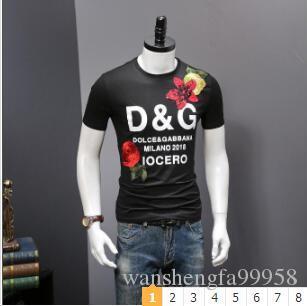 شارع أوروبا نيو باريس D + G مصممي الأزياء الصيف تي شيرت 5A + جودة عالية قصيرة الأكمام tshits لرجل إمرأة البلوز المحملة الملابس 88