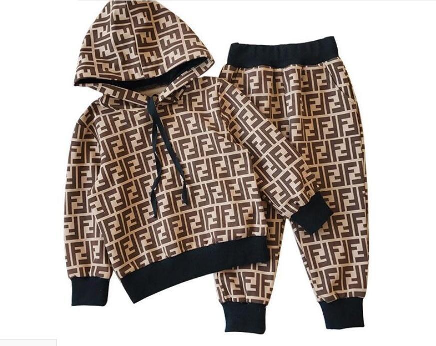 2019 nueva marca para niños sudaderas con capucha y pantalones trajes de algodón para niños bebés de los niños traje de otoño bebé traje deportivo 2 / set