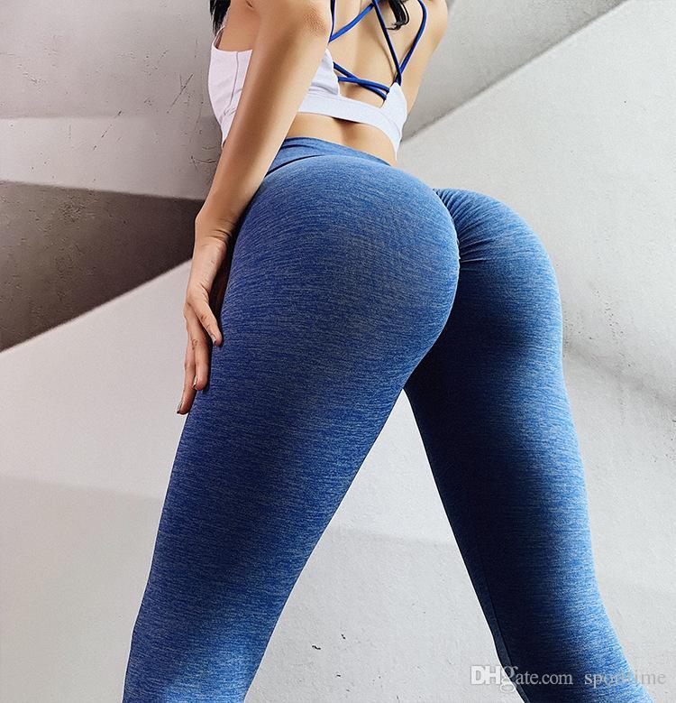 Novo sólido padrão Fold Yoga Pants Mulheres cintura alta Push Up apertado aptidão Leggings Gym Mulheres Correndo Workout Esporte Leggings