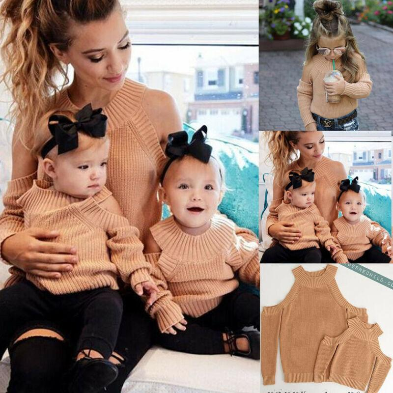 Mommy and Me Outfits Pullover Familie Kleidung Frauen Mutter-Kind-Baby-Mädchen-Off der Schulter Langarm Herbst Tops Kleidung